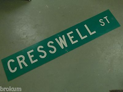 "Large Original Cresswell St Street Sign 48"" X 9"" White Lettering On Green"