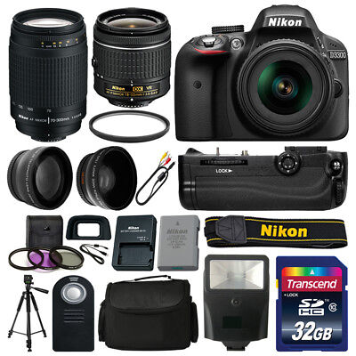 Nikon D3300 Camera 4 Lens Kit: 18-55mm VR + 70-300 + Battery Grip Value Bundle