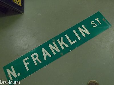 "Large Original N Franklin  St Street Sign 48"" X 9"" White Lettering On Green"