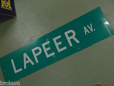 "Large Original Lapeer Av Street Sign 48"" X 12"" White Lettering On Green"