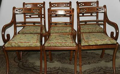 Set of 6 Antique Regency Style Yew Wood Dining Chairs - FREE Delivery [PL1865]