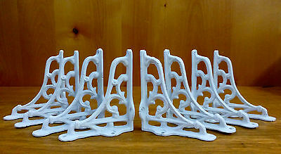 "8 SMALL WHITE ANTIQUE-STYLE 4"" SHELF BRACKETS CAST IRON rustic garden SCROLL"