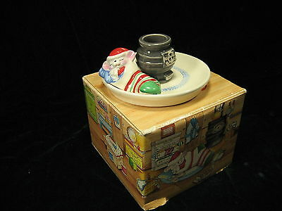 """Vintage Avon """"Snuggly Mouse"""" Christmas Ceramice Candle Holder with Original Box"""