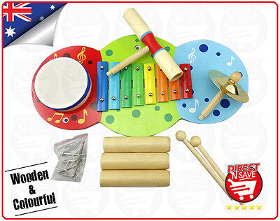 Kids Music Centre Music Instrument Wooden Colourful Xylophone Drum Cymbal Clave
