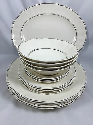 1912 ANTIQUE JG Meakin England STAFFORDSHIRE White Baroque FINE China Dish Set