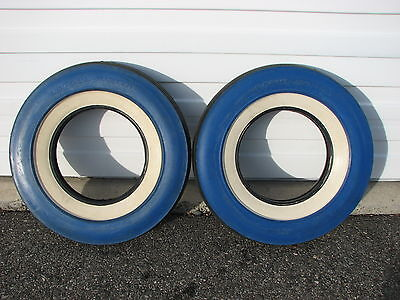 """2 Vintage 1956 NOS 7.10-15 U S Royal Master Blue """"Color Wall"""" White Wall Tires"""
