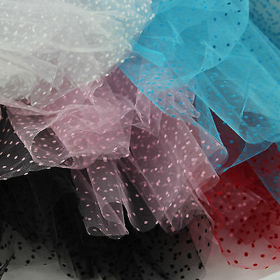 Tulle Fabric 100% Nylon Tutu Spotty Flocked Dots Net metre 140cm wide