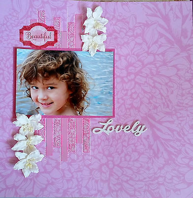 12 x 12 Handmade Scrapbook Page - Lovely