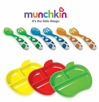 Munchkin Lil Apple Toddler Baby Divided Plates +PLUS Munchkin Forks & Spoons Set