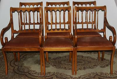 Set of 6 Antique Bannister Style Yew Wood Dining Chairs - FREE Delivery [PL1866]