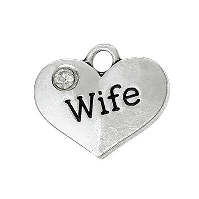 5 Antique Silver Wife Heart Charms Pendant~Birthday/Wedding/Wine Charm (84)