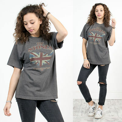 The Rolling Stones Womens Tshirt Retro Rock Band Tour Oversized Grey T-Shirt 14