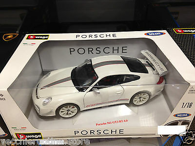 BBURAGO BURAGO PORSCHE 911 gt3 RS 4.0 White racing collection 1/18 metal