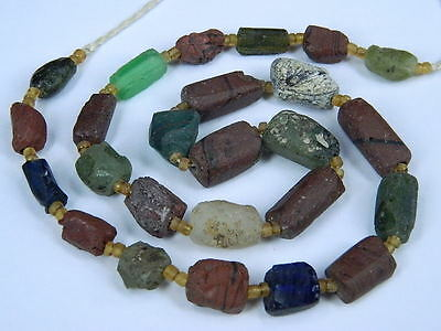 Ancient Fragment Glass Beads Strand Roman 200 BC   #ML1249