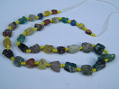 Ancient Fragment Glass Beads Strand Roman 200 BC No Reserve   #ML1159