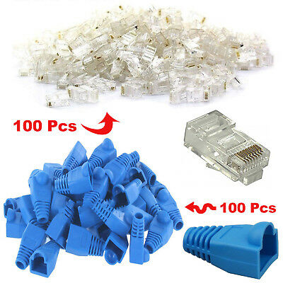 100x RJ45 Cat6 Cat5e Ethernet Cable Snagless Cover Boot+ 100x End Plug Connector