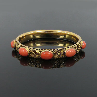 Antique Natural Untreated Coral & 14K Gold Decorated Hollow Bangle