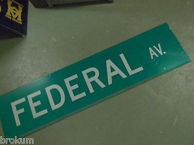 "Large Original Federal Av. Street Sign 48"" X 12"" White Lettering On Green"