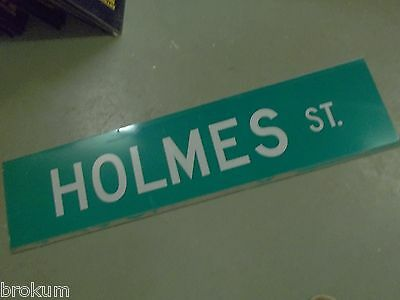 """Large Original Holmes St Street Sign 48"""" X 12"""" White Lettering On Green"""
