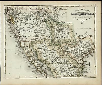 California Gold Region Texas New Mexico Utah 1852 Meyer scarce antique map