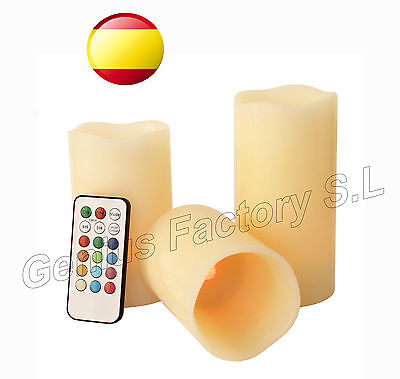 VELAS  LED con MANDO 12 COLORES SET de 3 VELAS