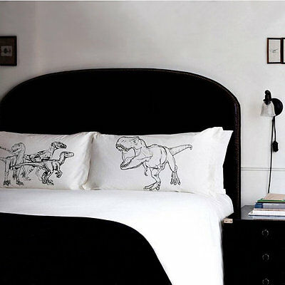 PILLOW fighting DINOSAURS Raptors vs Trex pillowcases fight wall t rex boy world