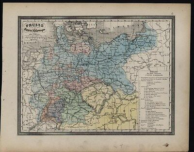 Prussia & Empire of Germany Holstein c.1858 antique lithograph hand color map