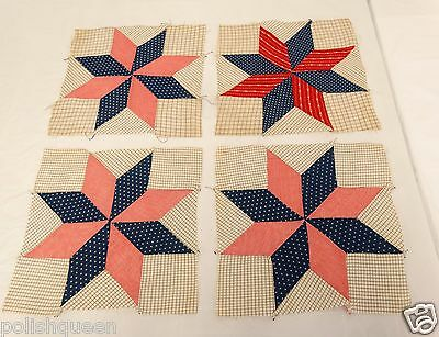 MAINE ANTIQUE QUILT BLOCKS CALICO FABRIC PATCHWORK LOT of 4 EIGHT POINTED STAR