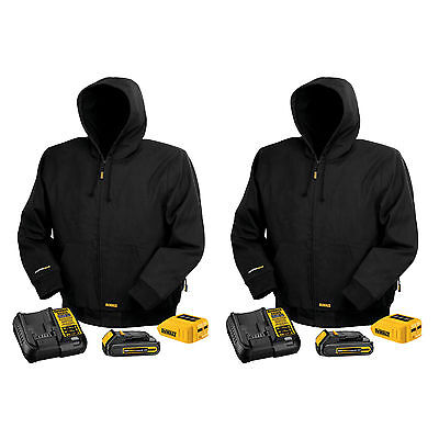 DeWALT DCHJ061C1 20V MAX Black Hooded Small Heated Work Jacket Kits, 2-Pack
