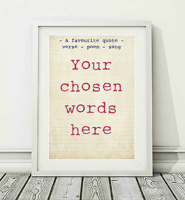 TYPOGRAPHY Custom Word Art Print - YOUR CHOSEN WORDS  - Sizes A4 A3 -  GIFT IDEA