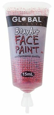 Body Art 15ml Tube - RED GLITTER Makeup Fancy Dress Party Accessories
