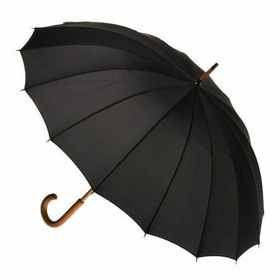 Men's 16 Rib Wood Umbrella Black