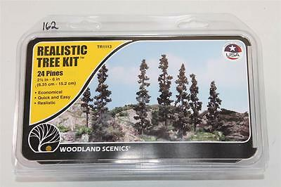 OO HO Scale Woodland Realistic tree kit 24 pines 2 1/2 In - 6in TR1113 FNQHobbys