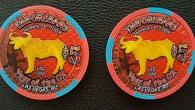 the orleans las vegas chinese new year of the ox bull $5 casino chip unc / 500