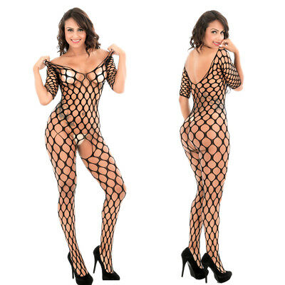 Women's-Sexy-Lingerie-Fishnet-Body stockings-Dress-Underwear-Club-Babydoll S-2XL