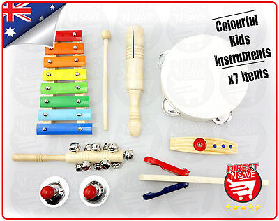 Kids Music Bucket Percussion Instruments Wooden Colourful Educational GD1070
