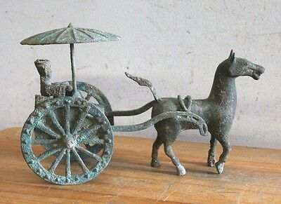 2nd Century A.D. Bronze Yao Chariot & Han Horse Figurine, China, Han Dynasty