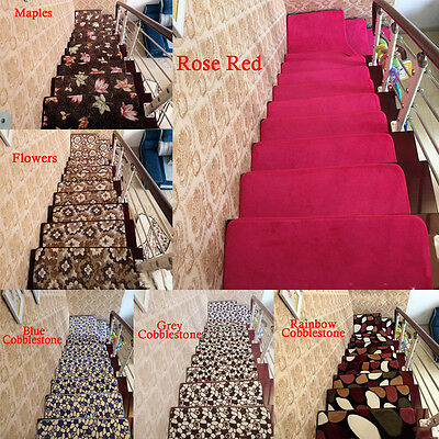 13pcs Stair Treads Rectangle Non-slip Carpet Stair Mats Country Style Rugs Pads