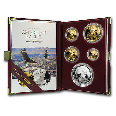 1995-W Proof American Eagles - 10th Anniversary 5 Coin Set - Box and Certificate