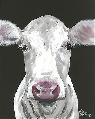 """Cow Art Print from original canvas cow painting, 8x10"""" signed by artist"""