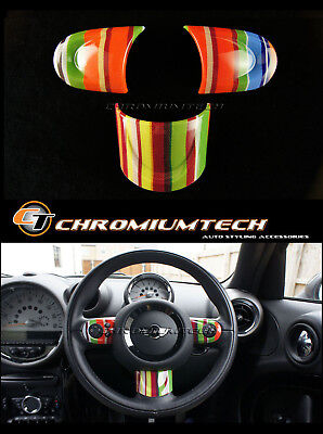 MINI R55 R56 R57 R58 R59 R60 R61 Multi Color Stripe NON MF Steering Wheel Cover