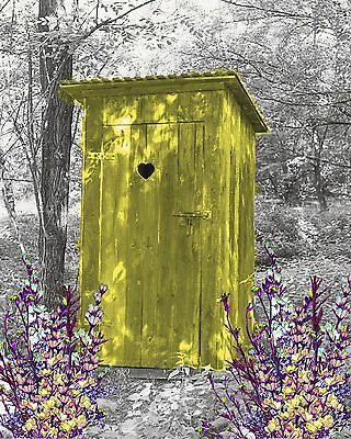 Yellow Gray Wall Art Photo Print Vintage Outhouse Home Bath Decor Bathroom