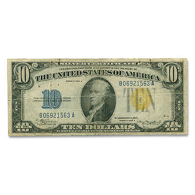 1934-A $10 Silver Certificate Yellow Seal-North Africa Fine - SKU #17615