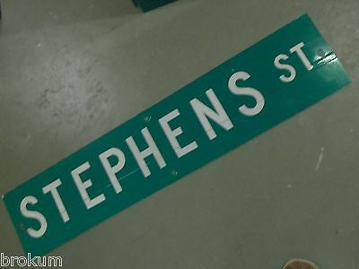 "Vintage ORIGINAL STEPHENS ST STREET SIGN 42"" X 9"" WHITE LETTERING ON GREEN"