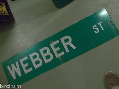 "Large Original Weber St Street Sign 48"" X 12"" White Lettering On Green"
