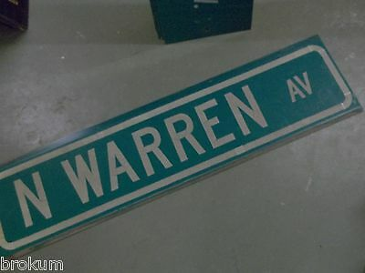 "Large Original N. Warren Av Street Sign 48"" X 12"" White Lettering On Green"