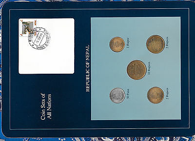 Coin Sets of All Nations Nepal 1994 (2051) UNC w/card 1 Rupee, 5,10,25,50 Paisa