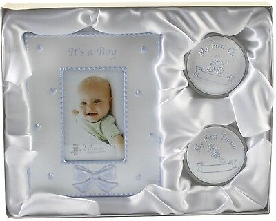 Baby Boy Gift Set Photo Frame 1st Tooth & Curl Boxes, Christening New Born Gift