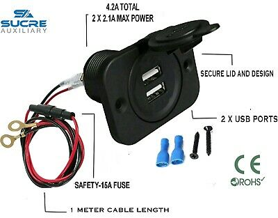 12V/24V USB Twin Dual Power Car Cigarette Lighter Socket + 1M Cable Ring 15A