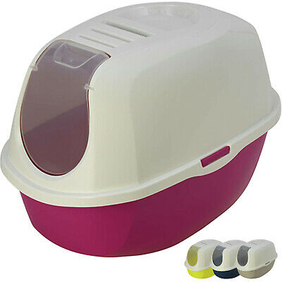Cat Flip Litter Tray 4 Colours Box Hooded Pan Toilet Loo Charcoal Filter Deep XL